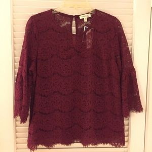 NWT Burgundy Lace Blouse w/Bell Sleeves - XL